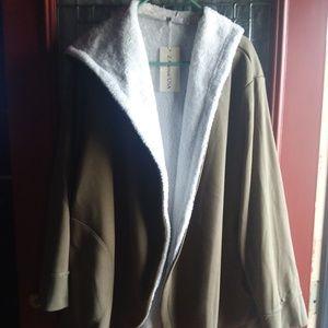 Olive knit knee length coat